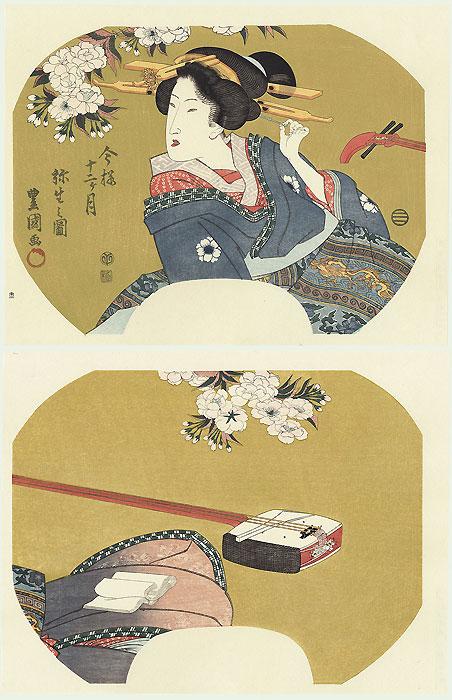 Beauty and Shamisen Fan Print by Toyokuni (1769 - 1825)