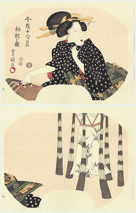 Beauty Playing the Koto Fan Print by Toyokuni (1769 - 1825)
