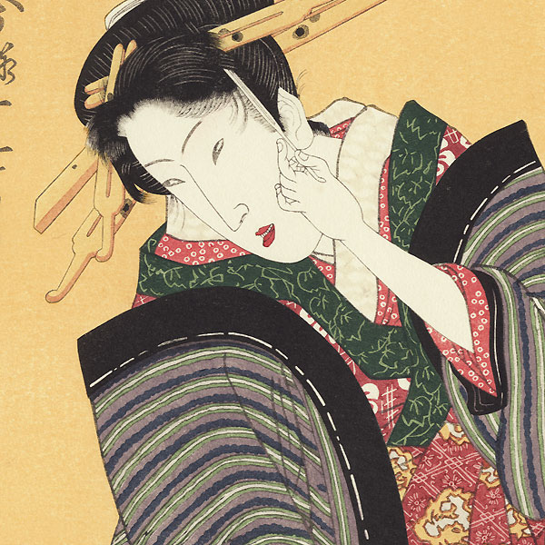 Beauty and Spring Flowers Fan Print by Toyokuni (1769 - 1825)
