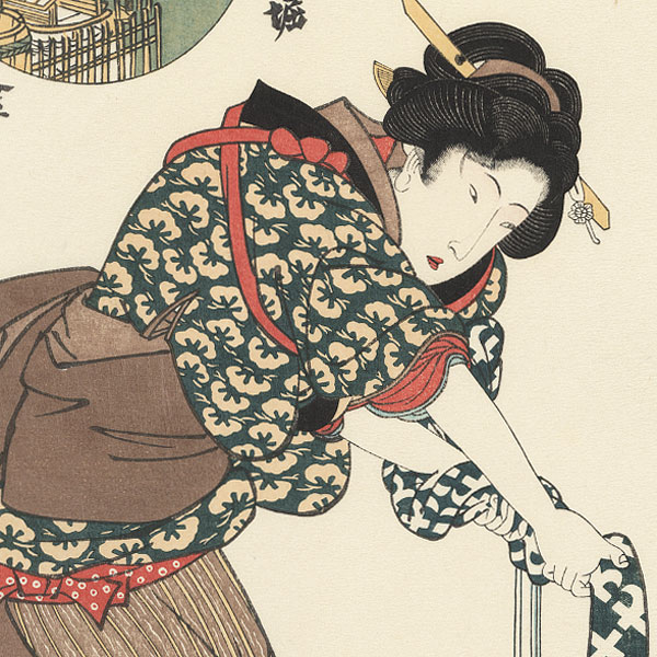 Beauty Wringing out Cloth by Toyokuni III/Kunisada (1786 - 1864)