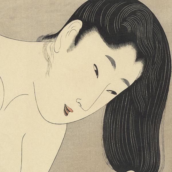 Combing the Hair by Utamaro (1750 - 1806)