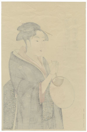 Woman Holding a Round Fan  by Utamaro (1750 - 1806)