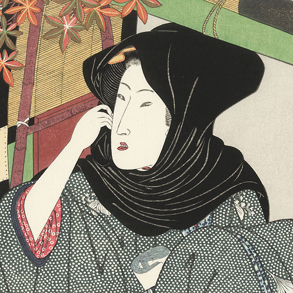 Beauty and Palanquin Fan Print by Toyokuni I (1769 - 1825)
