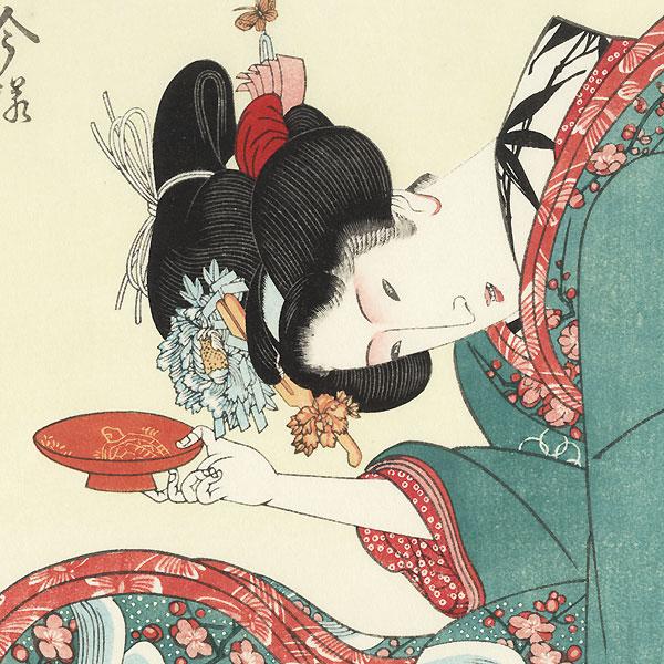Beauty with Sake Cup Fan Print by Toyokuni I (1769 - 1825)