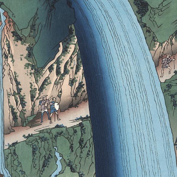 Shimotsuke Province, Mount Nikko, Urami Waterfall by Hiroshige (1797 - 1858)