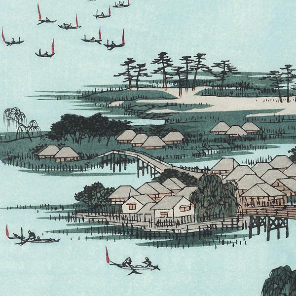 Kaga Province, The Eight Wonders of Kanazawa, The Fishing Fires on Lake Renko by Hiroshige (1797 - 1858)