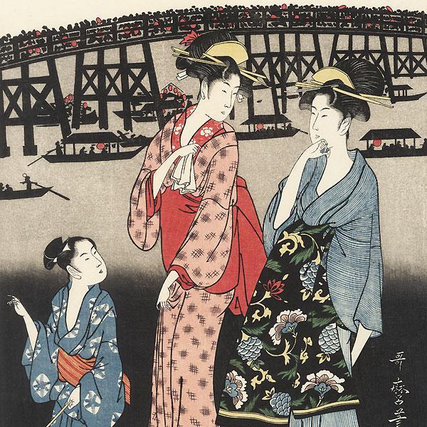 Enjoying the Evening Cool on the Banks of Sumida River by Utamaro (1750 - 1806)
