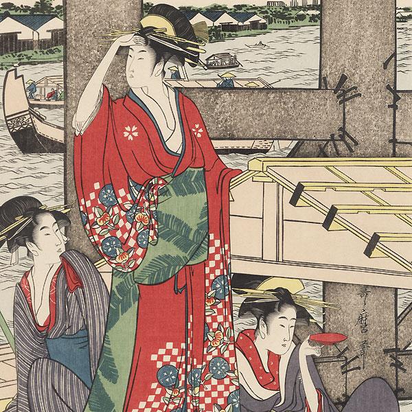 On Top and Beneath Ryogoku Bridge  by Utamaro (1750 - 1806)