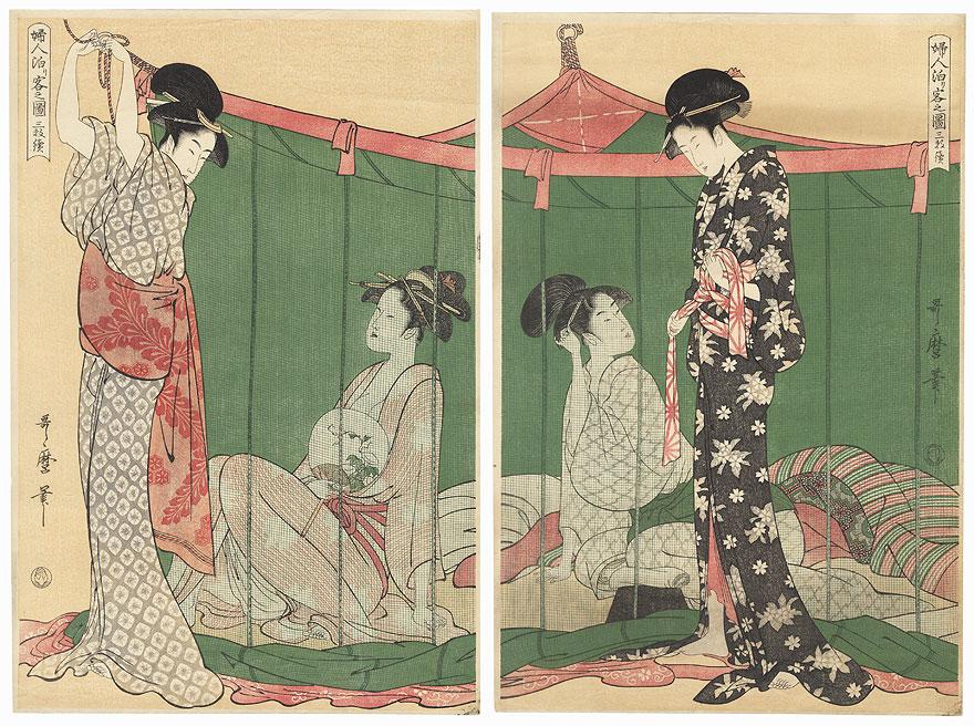 Women Overnight Guests by Utamaro (1750 - 1806)