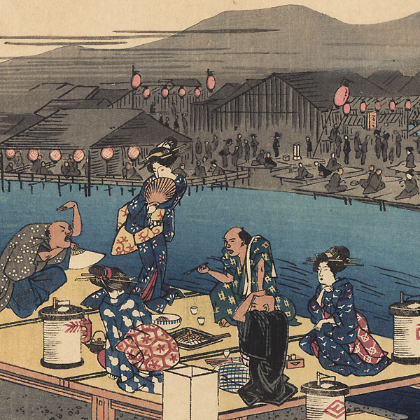Enjoying the Cool of the Evening by the Riverside at Shijo, Kyoto by Hiroshige (1797 - 1858)