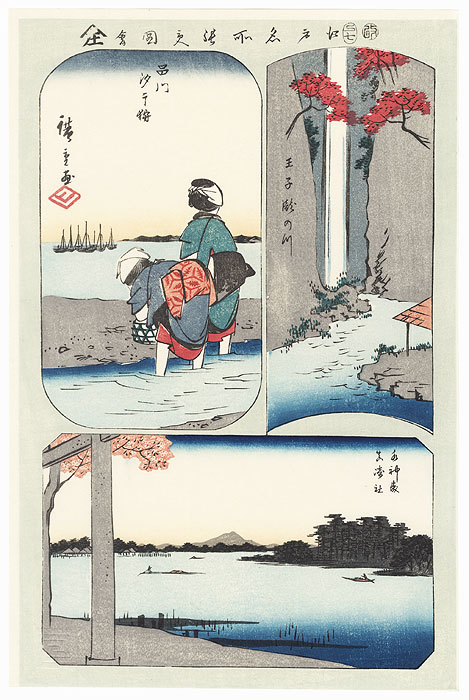 Waterfall River at Oji, Suijin Grove, Shellfish Gathering at Low Tide at Shinagawa, Masaki Inari Shrine by Hiroshige (1797 - 1858)