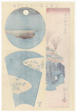 Ships Moored at Teppozu and Tsukuda Island, the Hagi Temple at Oshiage, Dancers at the Oji Shrine Festival by Hiroshige (1797 - 1858)