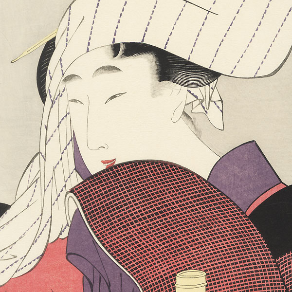 Beauty with Grinding Mill by Utamaro (1750 - 1806)