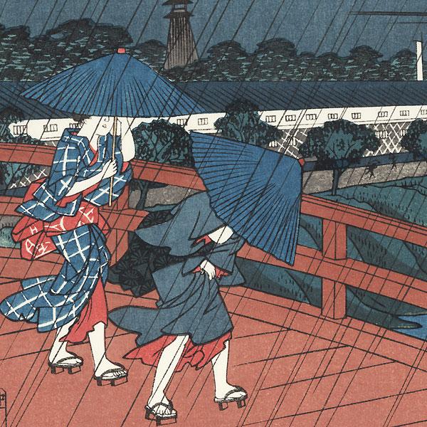 Rain at Suitengu Shrine, Akabane by Hiroshige (1797 - 1858)