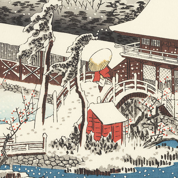 Snow in the Precincts of the Tenman Shrine at Kameido by Hiroshige (1797 - 1858)