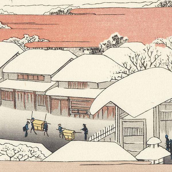Snowy Morning in the Yoshiwara by Hiroshige (1797 - 1858)