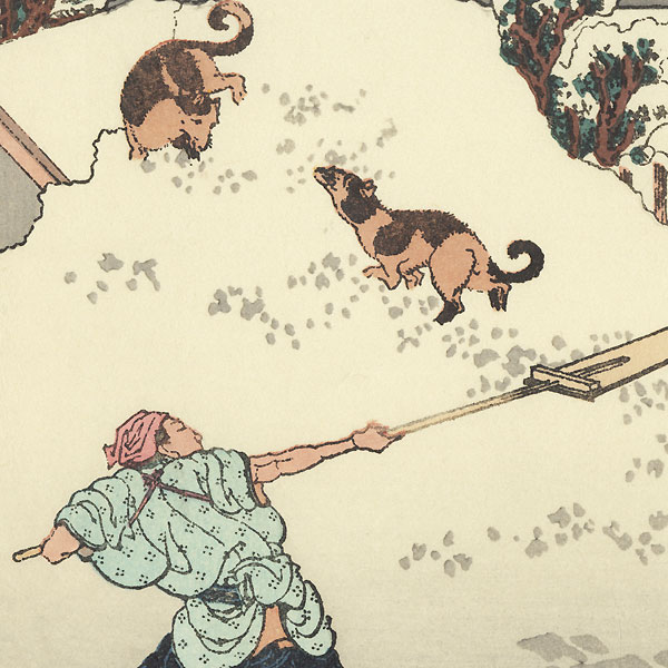 Morning Downtown after a Heavy Snow by Hokusai (1760 - 1849)
