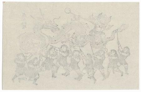 Chinese Dragon Dance by Edo era artist (unsigned)