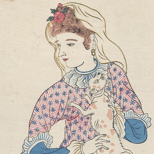 Dutch Woman Holding a Dog by Edo era artist (unsigned)