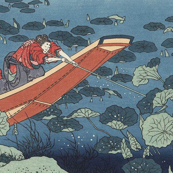 Poem by Bunya no Asayasu by Hokusai (1760 - 1849)