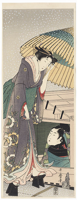 Beauty Boarding a Pleasure Boat Pillar Print by Utamaro (1750 - 1806)