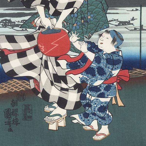 Summer, Ryogoku Fireworks by Kuniyoshi (1797 - 1861)