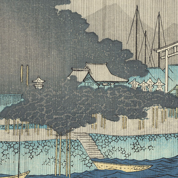 Night Rain at Karasaki by Hiroshige (1797 - 1858)