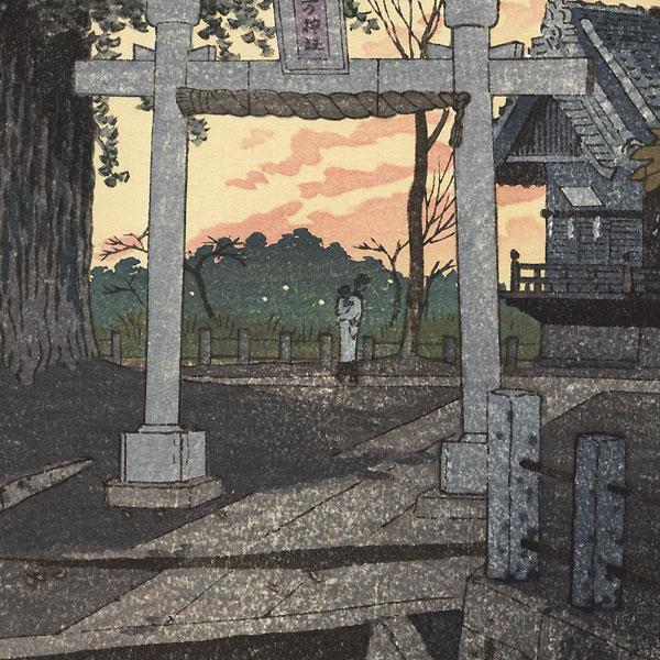 Evening Glow at Suwa Shrine, Nippori, 1932 by Shiro Kasamatsu (1898 - 1991)