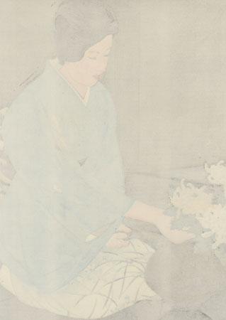Kasumi Teshigawara Arranging Chrysanthemums by Ito Shinsui (1898 - 1972)