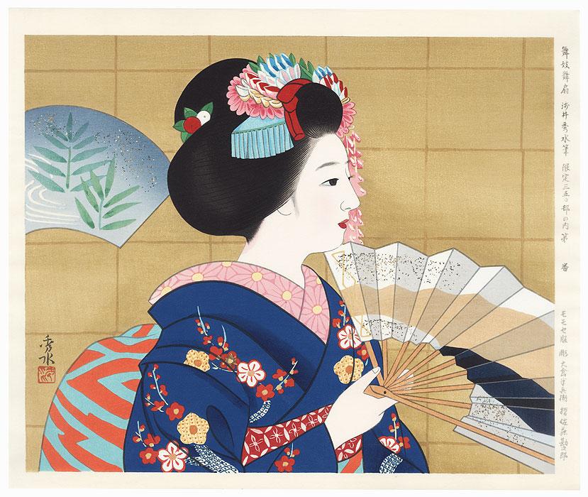 Maiko with Dancing Fans by Asai Hidemizu