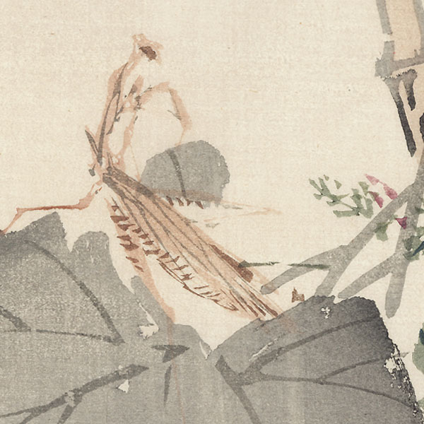 Praying Mantis and Gourd by Meiji era artist (unsigned)