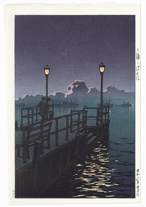 Pier at Otaru, 1933 by Hasui (1883 - 1957)
