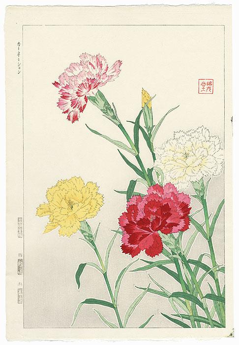 Carnations by Kawarazaki Shodo (1889 - 1973)