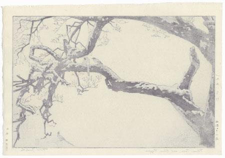 Plum Tree and Blue Magpie, 1951 by Toshi Yoshida (1911 - 1995)