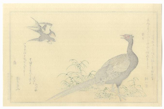 Swallows and Green Pheasant by Utamaro (1750 - 1806)