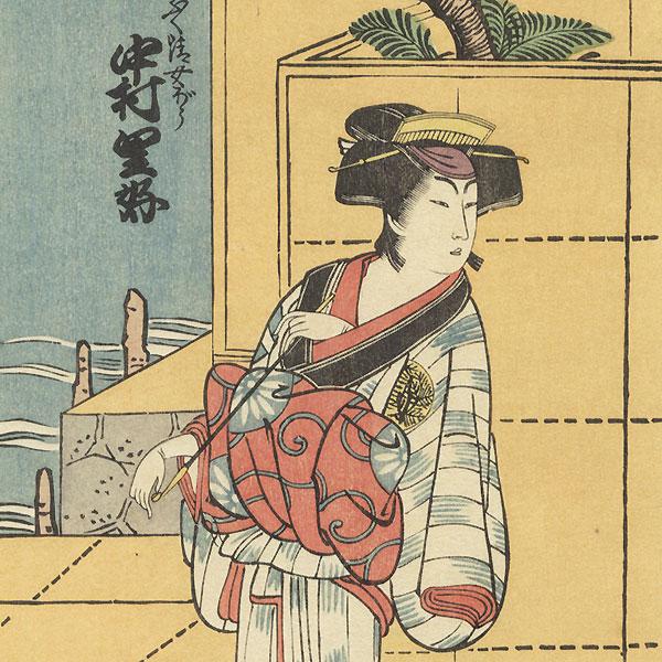 Nakamura Riko in the Role of Fukukiyo's Wife by Hokusai (1760 - 1849)