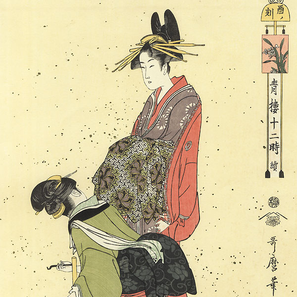 Hour of the Cock (6 to 8 pm)  by Utamaro (1750 - 1806)