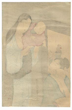 Baby and Toy Rabbit by Utamaro (1750 - 1806)