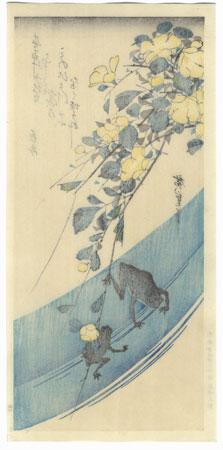 Frogs and Yamabuki Flowers by Hiroshige (1797 - 1858)