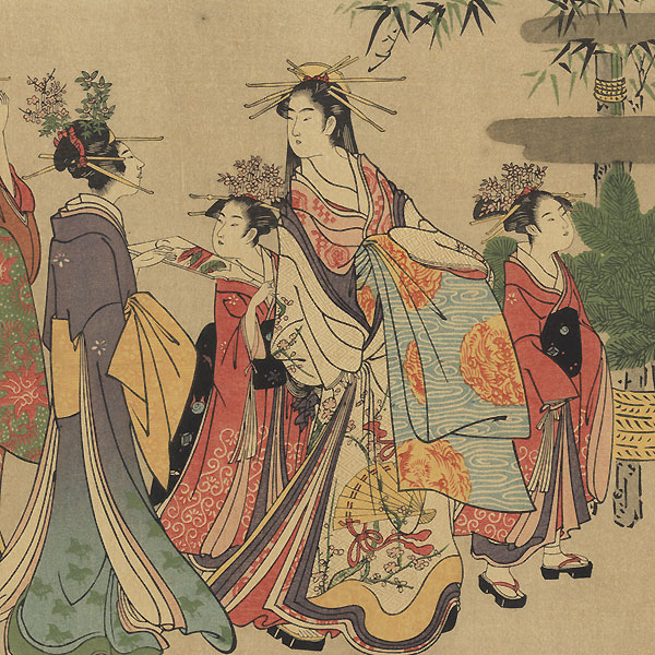 Courtesans and Kamuro at New Year's by Eishi (1756 - 1829)