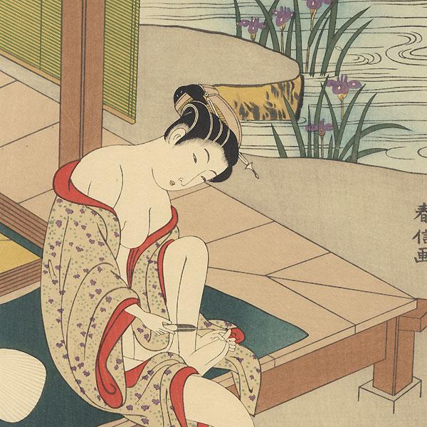 Beauty after a Bath by Harunobu (1724 - 1770)