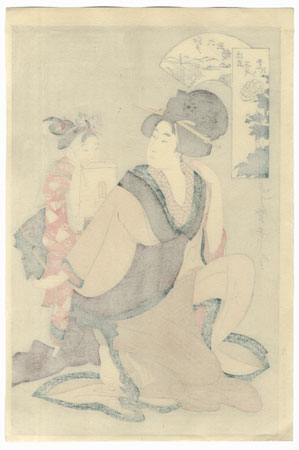 Beauty and Young Attendant by Utamaro (1750 - 1806)