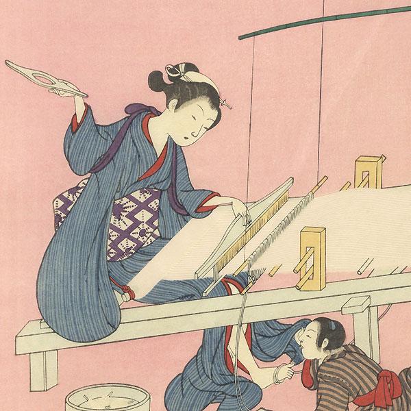 Beauty Weaving by Harunobu (1724 - 1770)