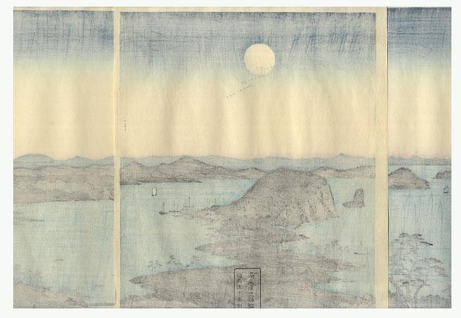 Panorama of the Eight Views of Kanazawa under a Full Moon by Hiroshige (1797 - 1858)