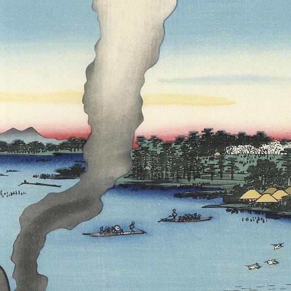 Tile Kilns and Hashiba Ferry, Sumida River by Hiroshige (1797 - 1858)