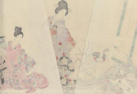 Dogs Playing, 1896 by Chikanobu (1838 - 1912)