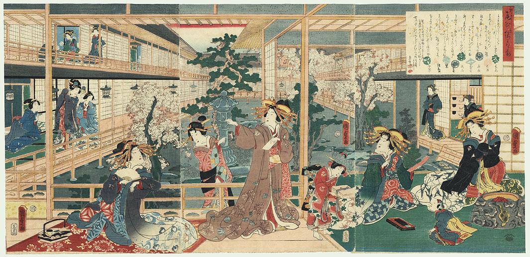 Yoshiwara Beauties in Spring by Kunisada II (1823 - 1880)