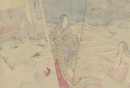 Moon Viewing Banquet at Yoshino Imperial Palace, 1888 by Chikanobu (1838 - 1912)