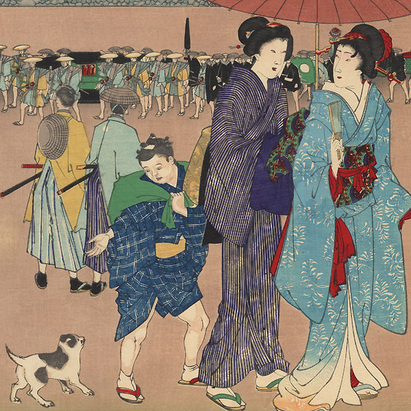 Seventh Month: Tanabata Festival at Sujikai Mitsuke Crossroads, 1889 by Chikanobu (1838 - 1912)