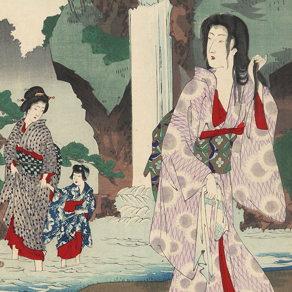 Beauties Cooling off at a Waterfall, 1893 by Chikanobu (1838 - 1912)